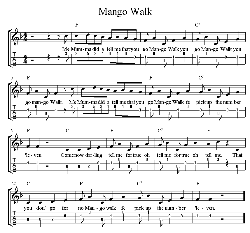 September 22nd – Mango Walk for ukulele | The Music Jungle