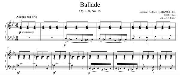 F. Burgmuller - Ballade - Piano Tutorial (50% Speed) by ...
